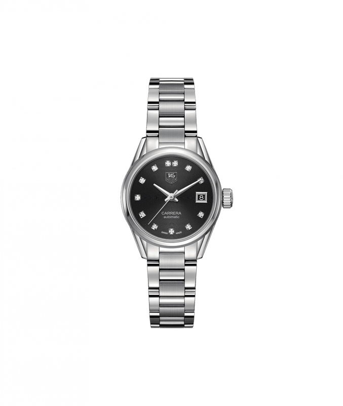 TAG Heuer 'Carrera' 28mm Watch with Black Diamond Dial