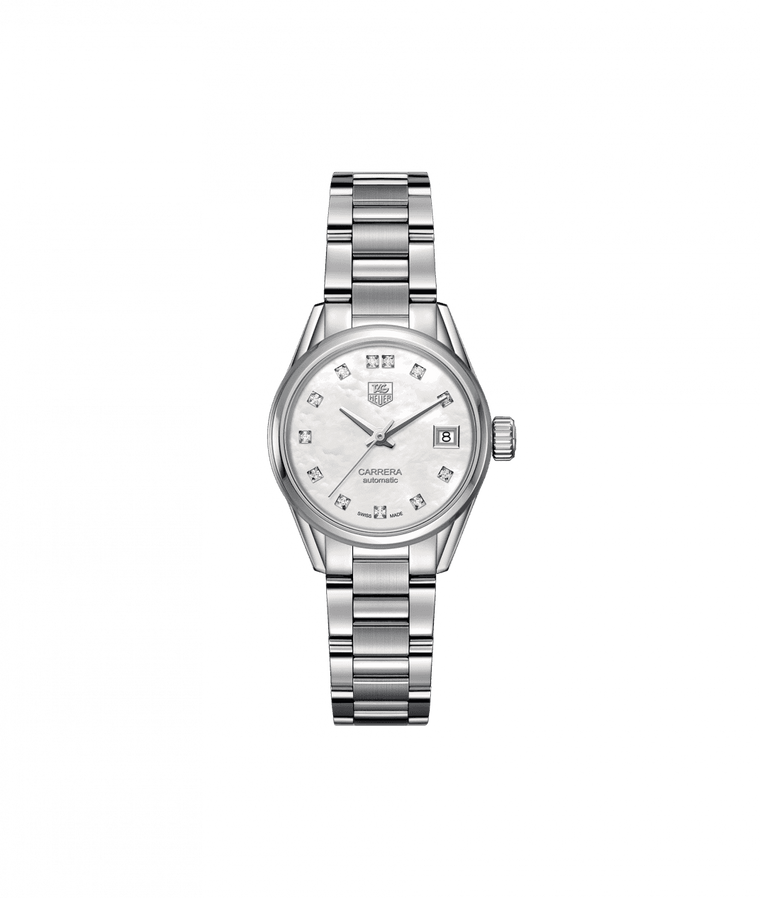 TAG Heuer 'Carrera' 28mm Watch with Mother of Pearl Dial