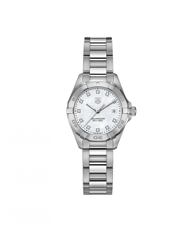 TAG Heuer Aquaracer 27mm Ladies Watch with Diamond Mother of Pearl Dial