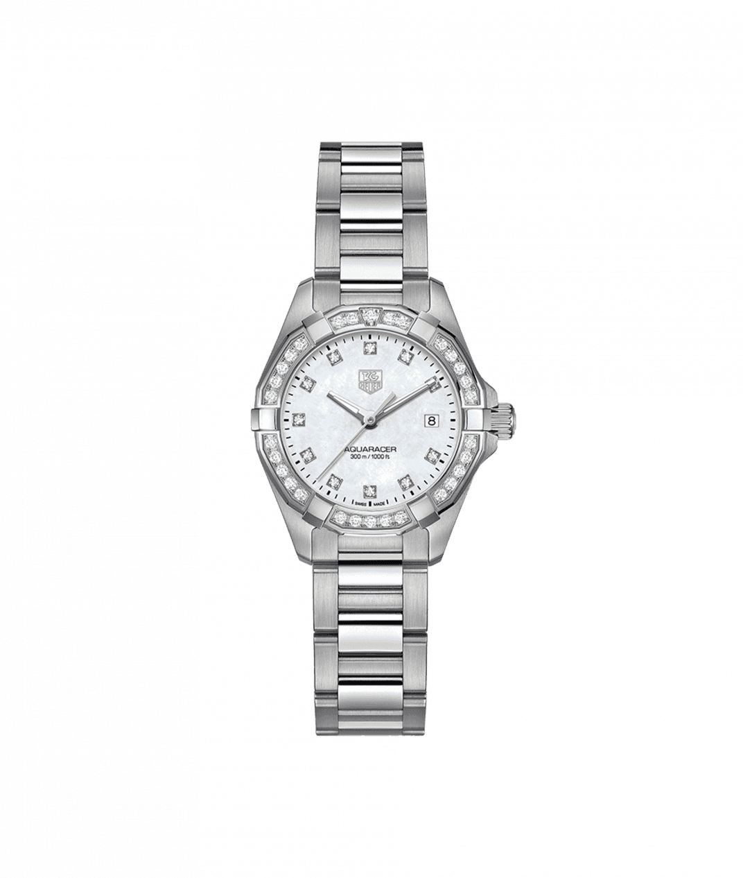 TAG Heuer 'Aquaracer' 27mm Watch with Mother of Pearl and Diamond Dial