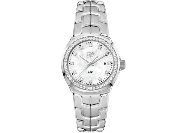 TAG Heuer 'Link' 32mm Watch with Mother of Pearl and Diamond Dial