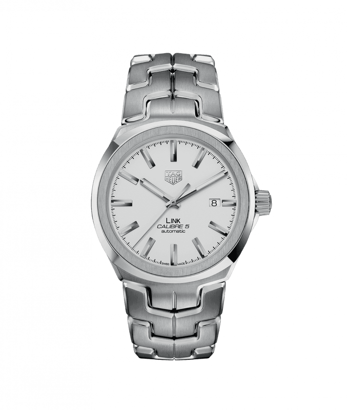 TAG Heuer 'Link' 41mm Watch with White Dial