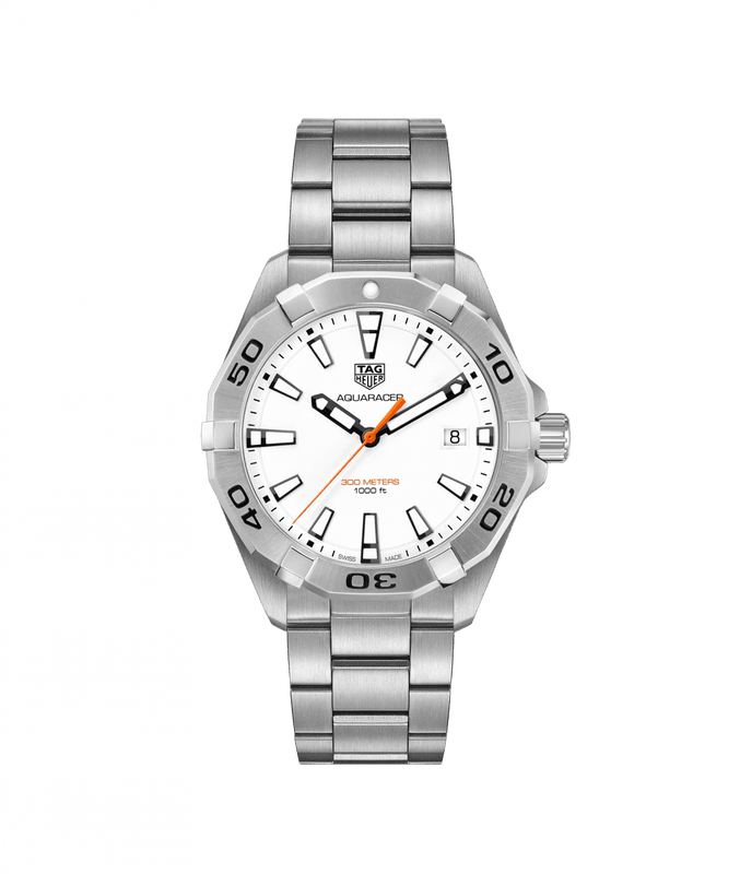 TAG Heuer 'Aquaracer' 41mm Watch with White Dial