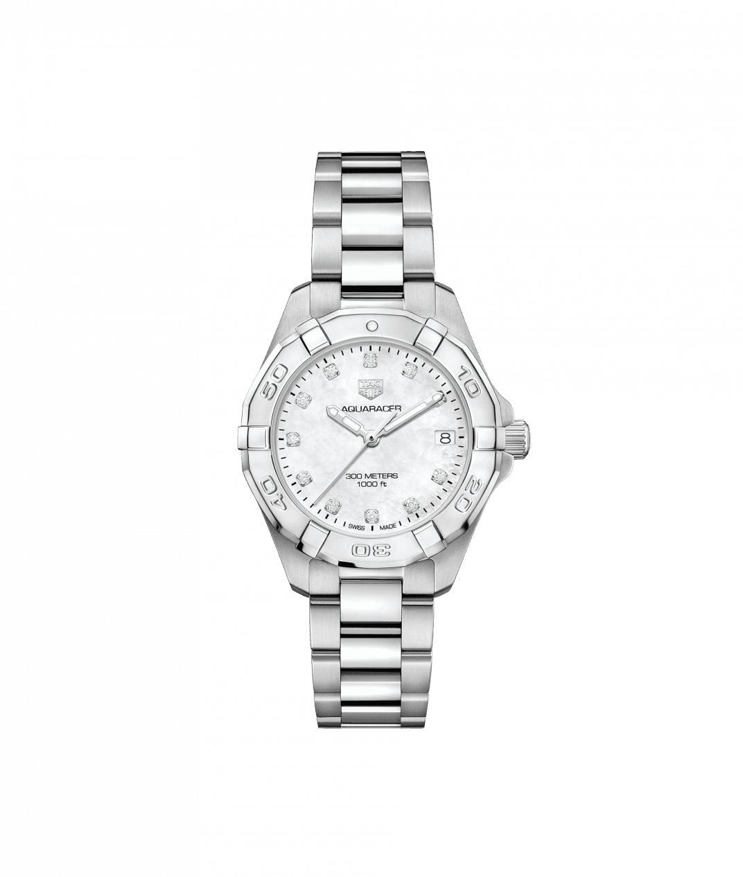 TAG Heuer 'Aquaracer' 32mm Watch with Mother of Pearl and Diamond Dial