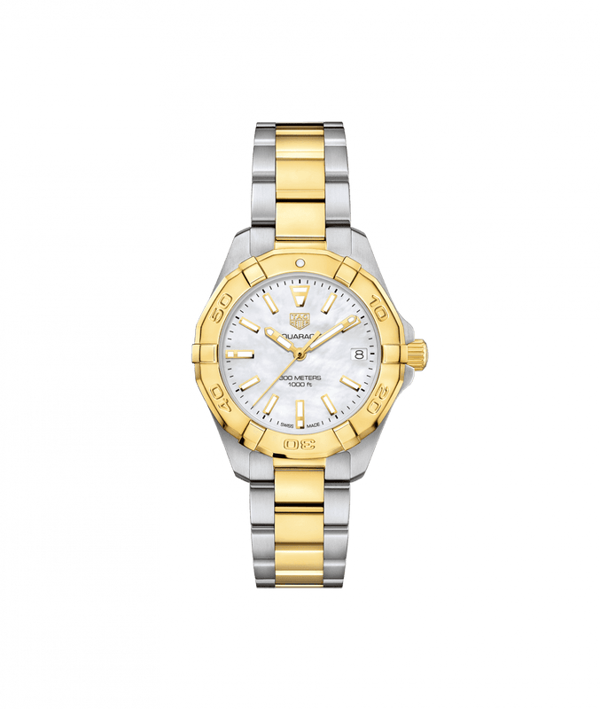 TAG Heuer 'Aquaracer' 32mm Watch with Mother of Pearl Dial