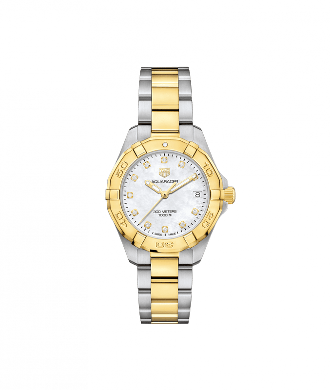 TAG Heuer Aquaracer 32mm Ladies Watch with Diamond Mother of Pearl Dial