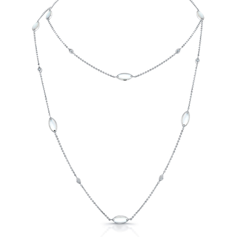 Kabana White Mother of Pearl and Diamond Station Necklace