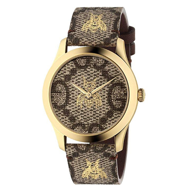 Gucci G-Timeless 38mm Watch with Brown and Gold Dial