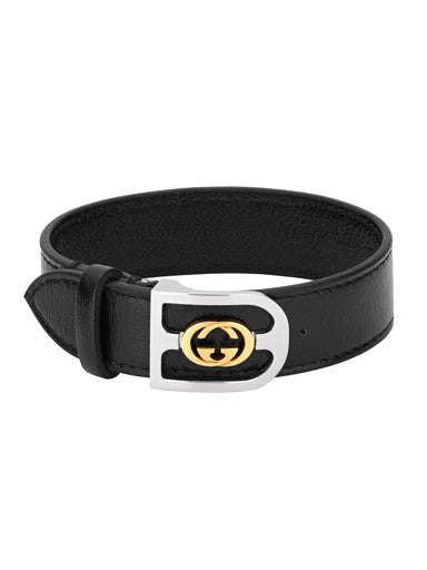 Gucci Interlocking G Leather Buckle Bracelet