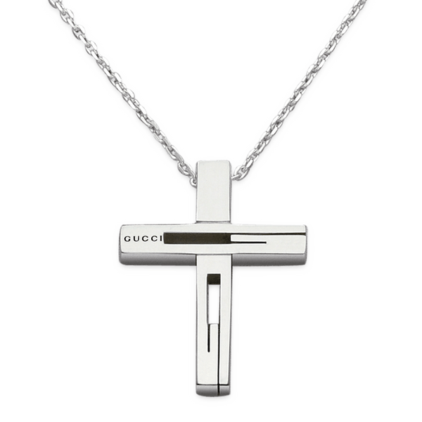 Gucci Sterling Silver Large Cross Necklace