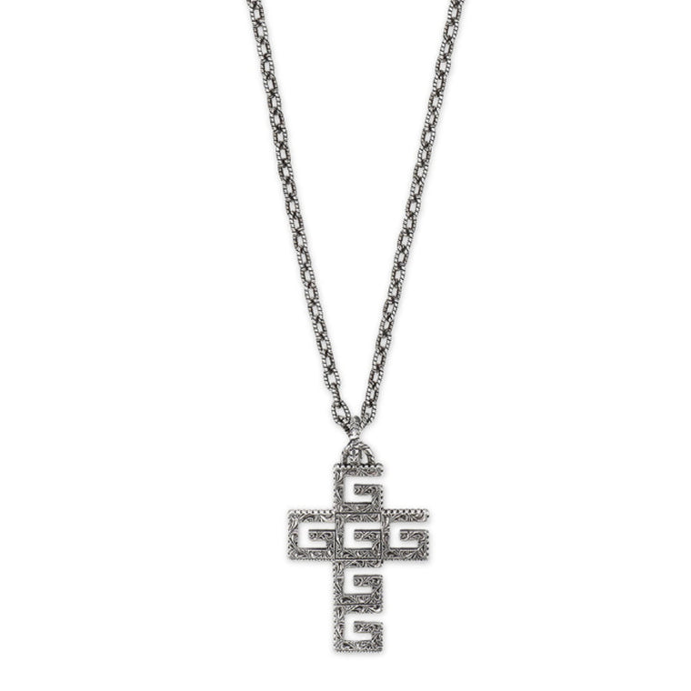 Gucci G Cube Men's Cross Pendant Necklace
