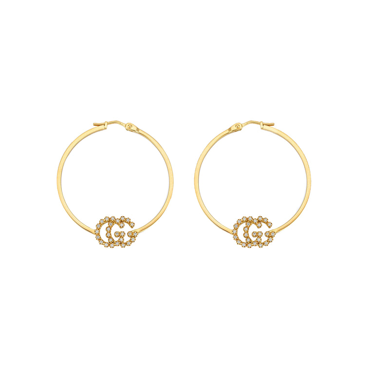 Gucci 18k Yellow Gold GG Running Hoop Earrings with Diamonds