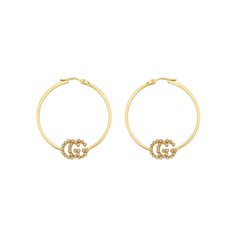 Gucci GG Running Hoop Earrings with Diamonds