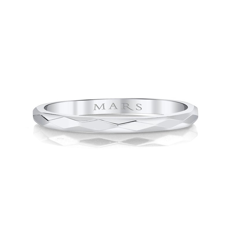 MARS Hammered 14k White Gold Stackable Wedding Band