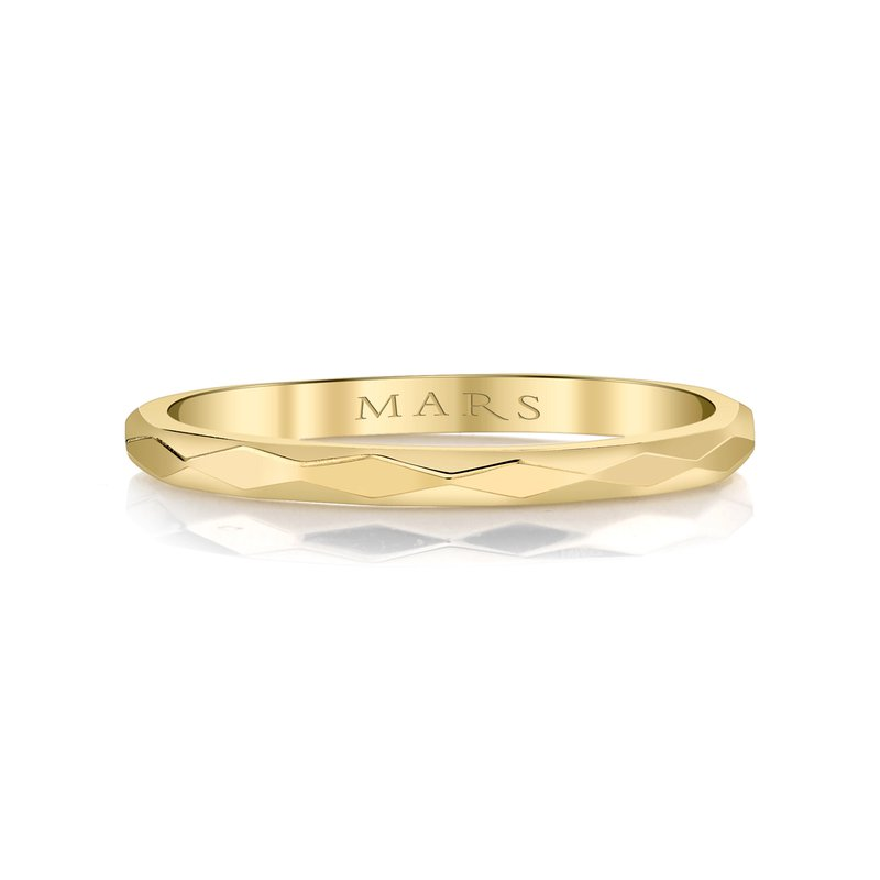 MARS Hammered 14k Yellow Gold Stackable Wedding Band