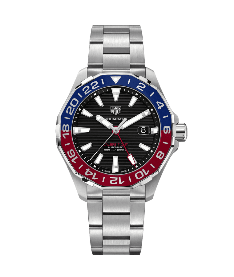 TAG Heuer Aquaracer GMT 43mm Watch with Black Dial
