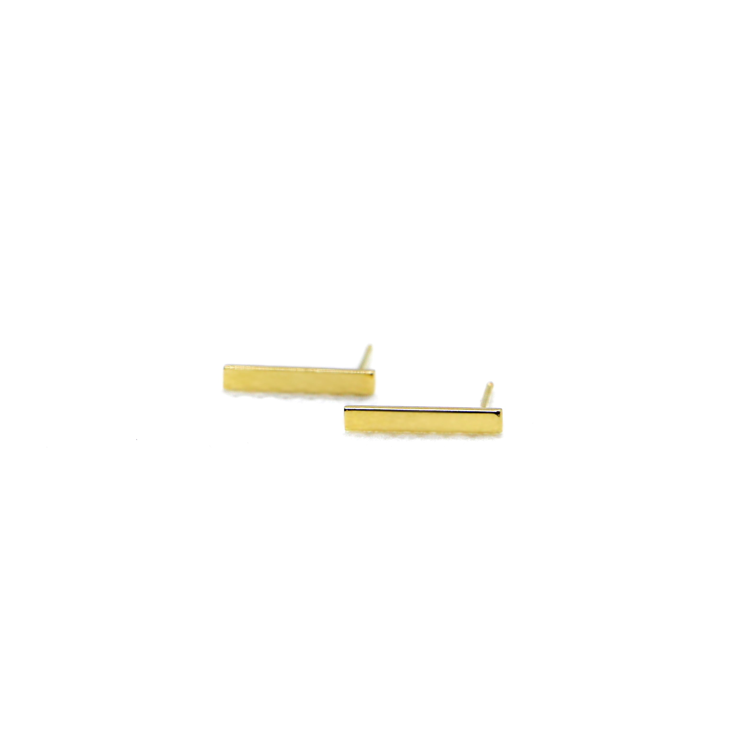 Hand Made 14k Yellow Gold Bar Stud Earrings