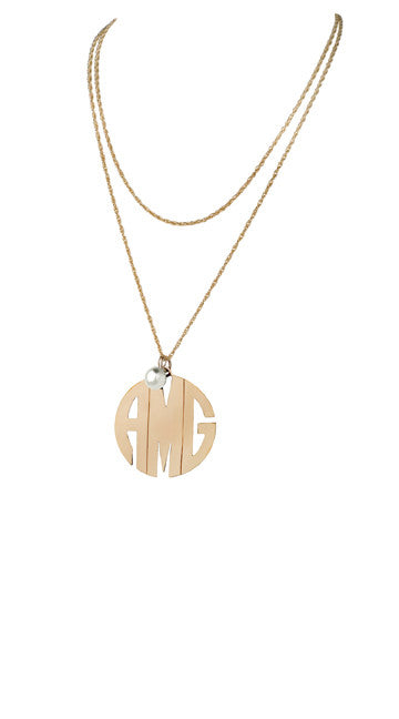 Sterling Silver or Gold Filled Block Monogram Necklace
