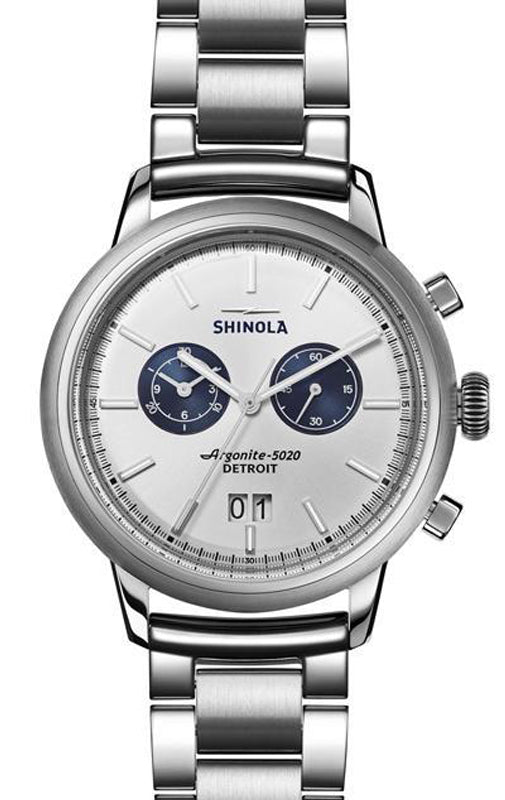 Shinola Bedrock Chronograph 42mm Watch with Silver Dial