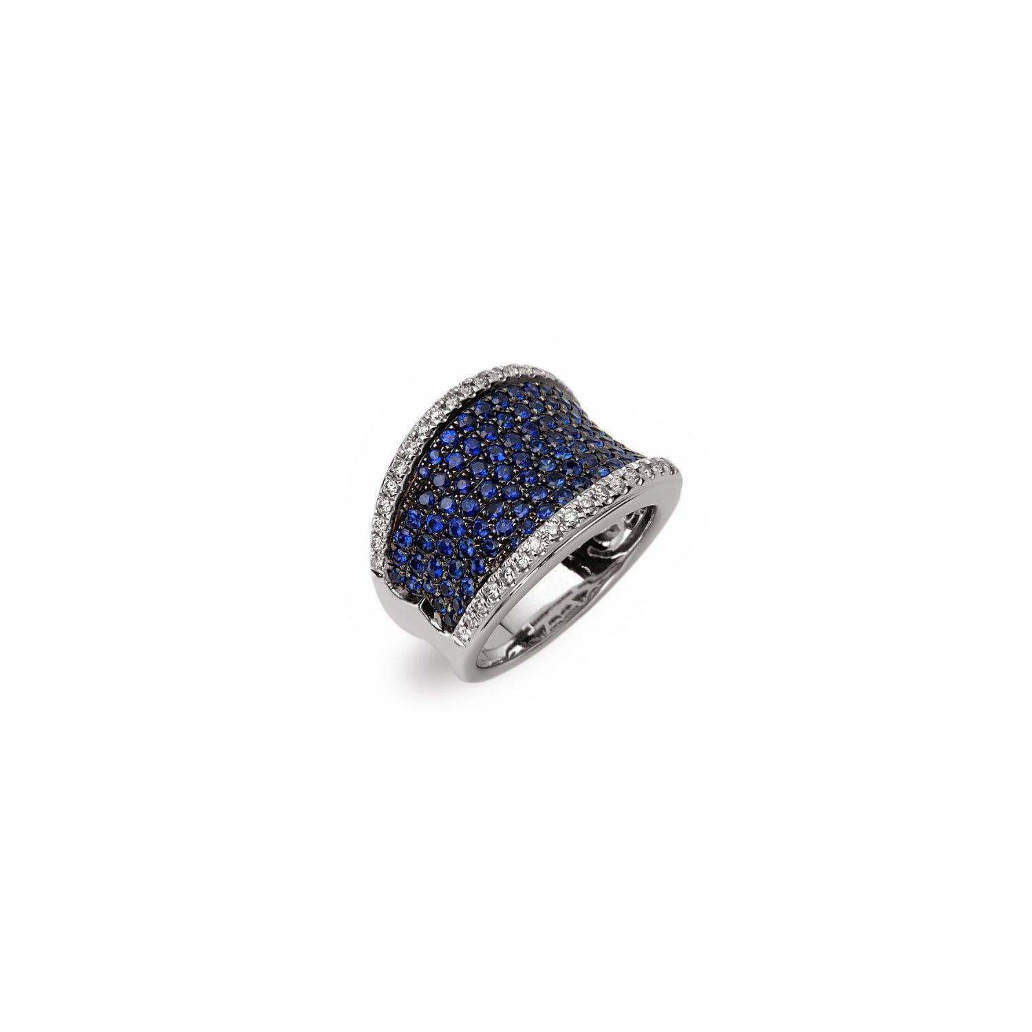 Charles Krypell White Gold Sapphire Pave Saddle Ring with Diamonds