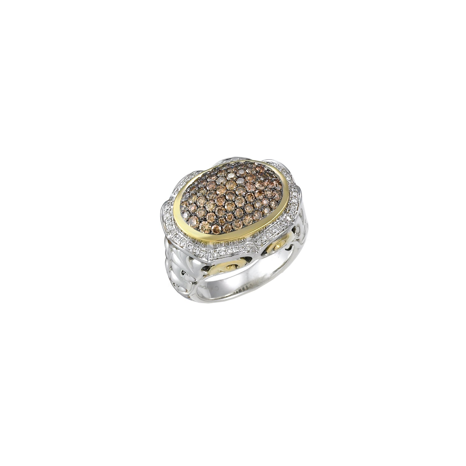 Charles Krypell Oval Ring with Brown and White Diamonds