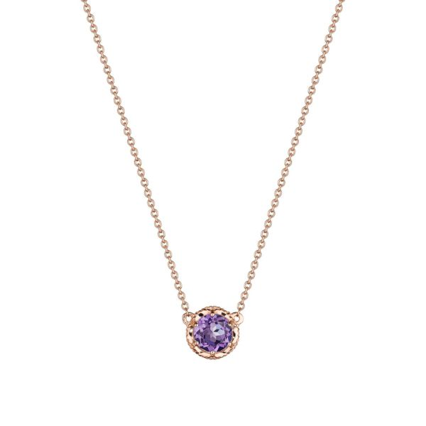 Tacori Amethyst and Rose Gold Station Necklace