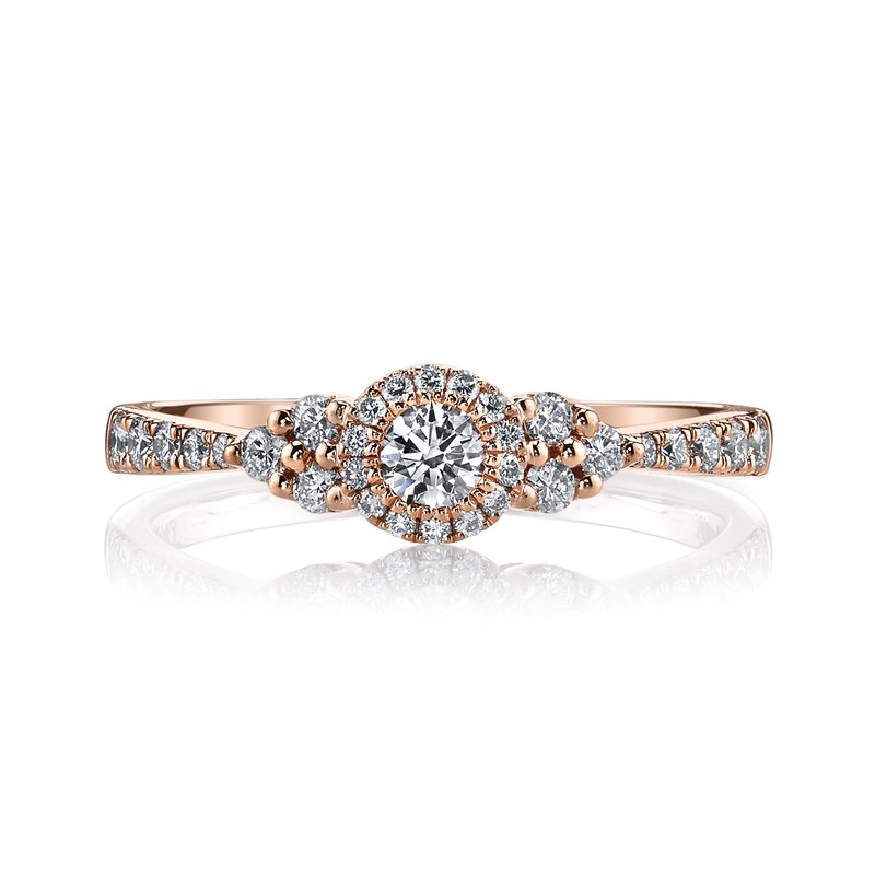 MARS 14k Rose Gold Halo and Side Stone Cluster Engagement Ring