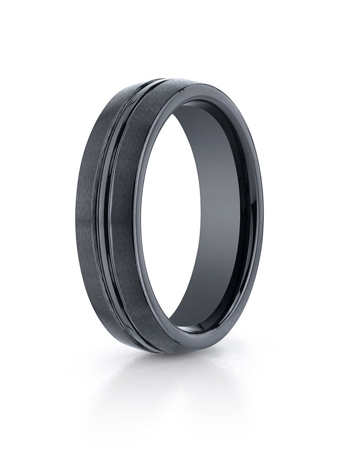 Benchmark 6mm Satin Finish with Polished Center Wedding Band- Seranite