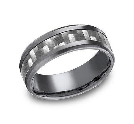 Benchmark Tantalum 8mm Carbon Center With A Beveled Edge Wedding Band