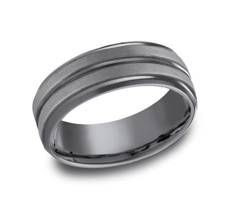 Benchmark Tantalum 8mm Matte And Polished Finish Wedding Band