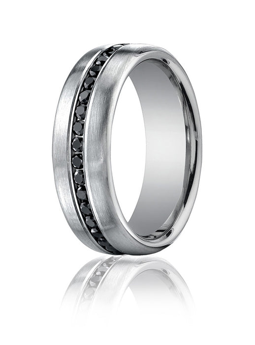 Benchmark 7.5mm SpinSatin Channel Set 0.78tw Black Diamond 14KW Wedding Band D