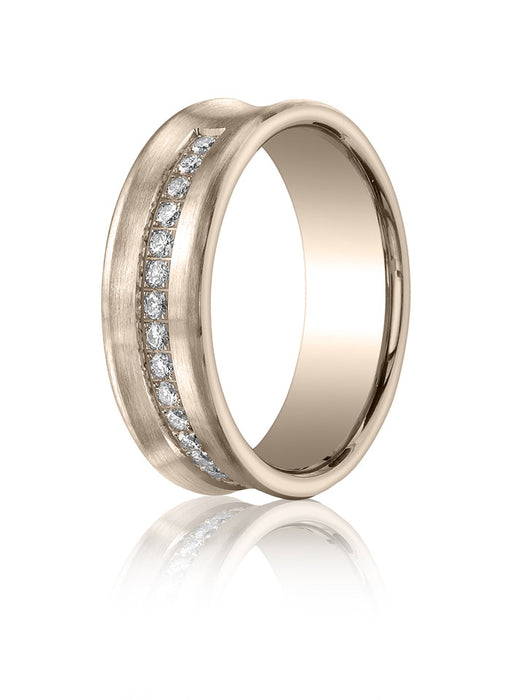 Benchmark 7.5mm SpinSatin Concave 0.32tw Diamond 14K Rose Gold Wedding Band D