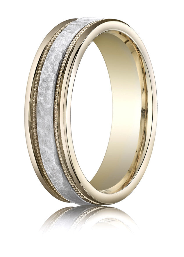 Benchmark 6mm Hammered Comfort Fit 14KTT Wedding Band