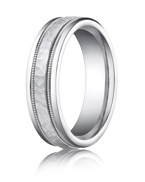 Benchmark 6mm Hammered 14KW Wedding Band