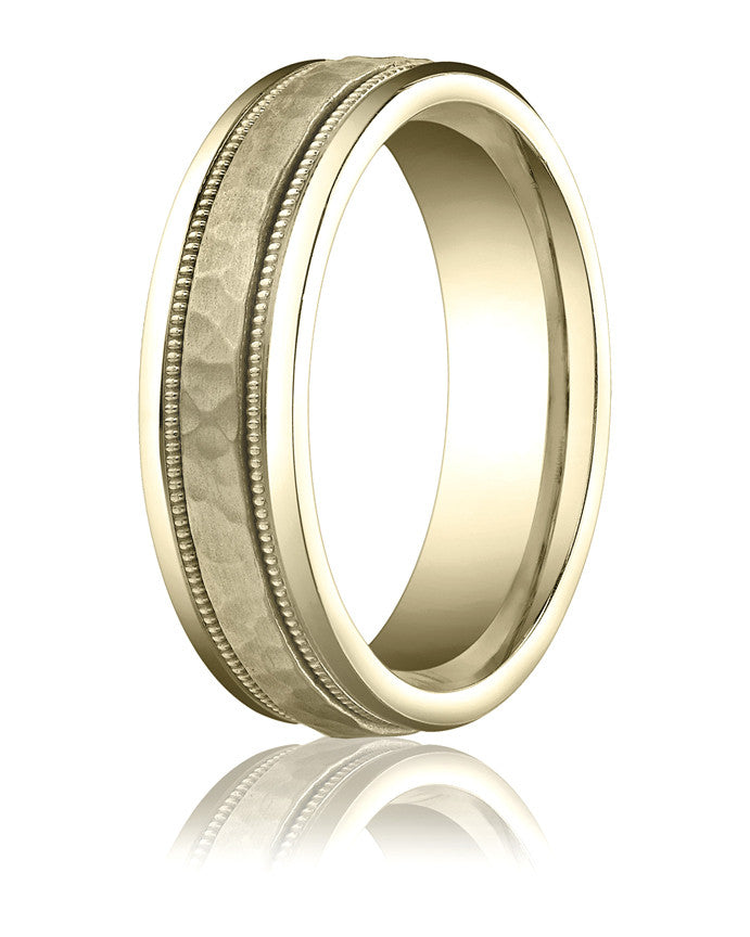 Benchmark 6mm Hammered 14KY Wedding Band