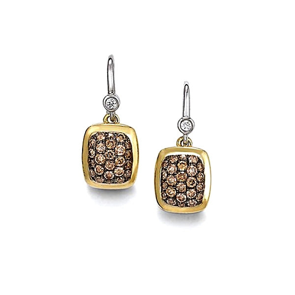 Charles Krypell Silver and Yellow Gold Drop Earrings with Brown Diamonds