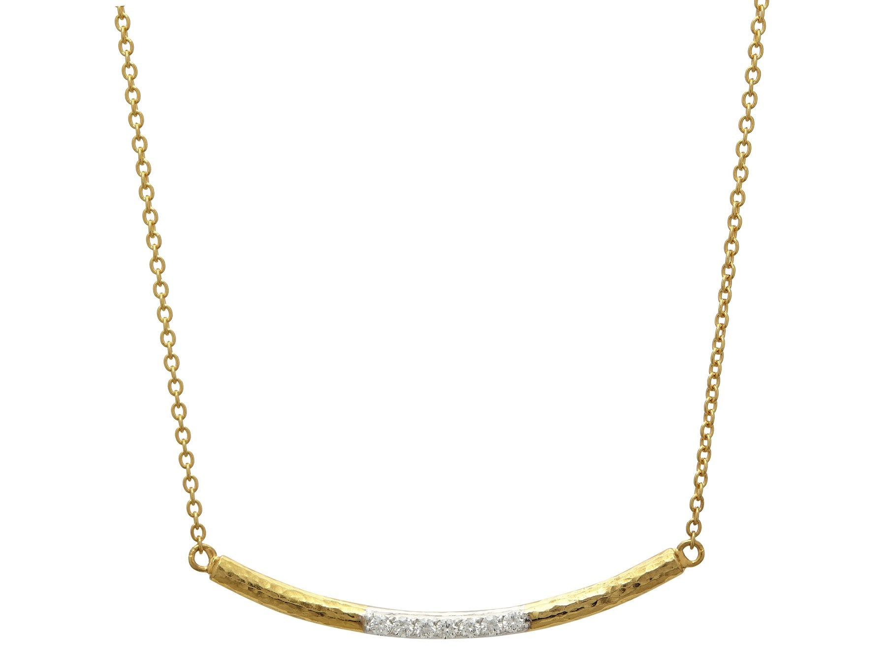 Gurhan Geo Curved Bar Necklace with Diamonds