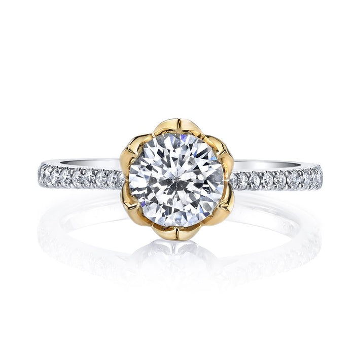 MARS White and Yellow Gold Floral Motif Engagement Ring