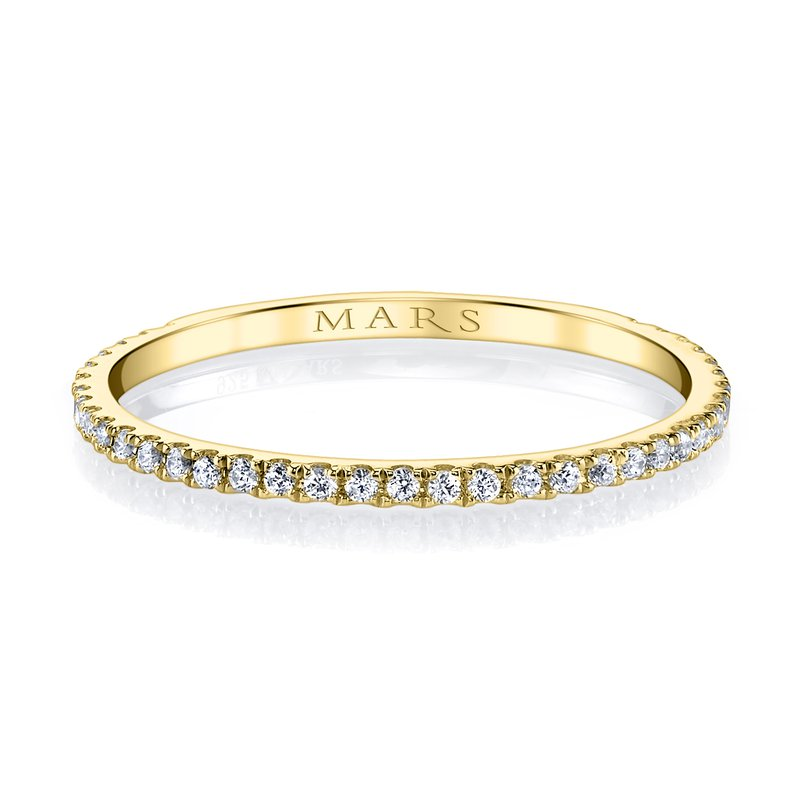 MARS 14k Yellow Gold and Diamond Stackable Wedding Band