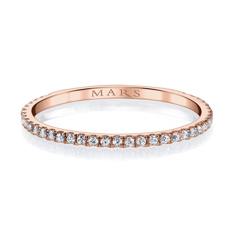 MARS 14k Rose Gold and Diamond Stackable Wedding Band