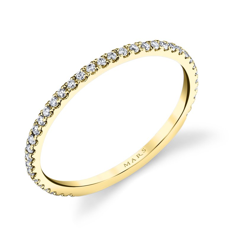 Stackable Wedding Bands.Mars 14k Yellow Gold And Diamond Stackable Wedding Band