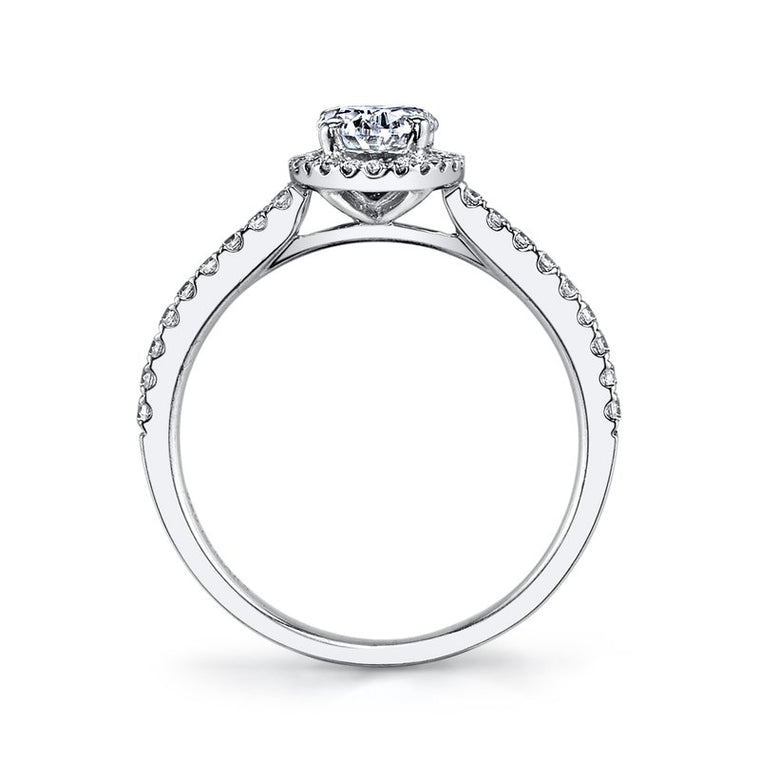 MARS 14k White Gold Oval Halo Semi-Mount Engagement Ring