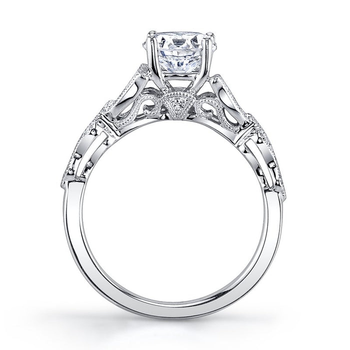 MARS Vintage-Inspired 14k White Gold Engagement Ring
