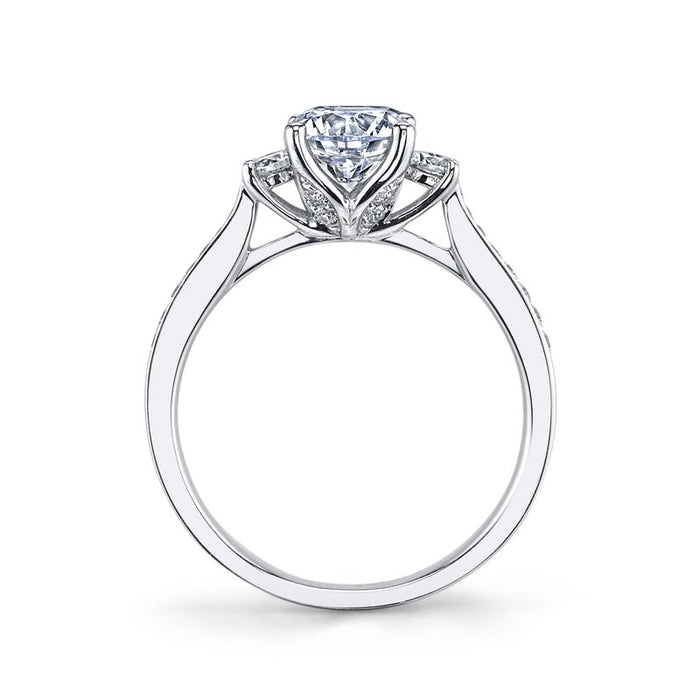 MARS 14k White Gold Three Stone Engagement Ring