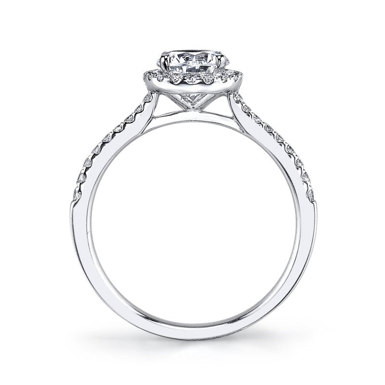 MARS 14k White Gold Round Halo Semi-Mount Engagement Ring