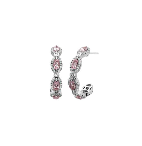 Charles Krypell Pastel Marquise Morganite Post Hoop Earrings with Diamonds