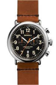 Shinola 'The Runwell' Chronograph 47mm Watch with Black Dial
