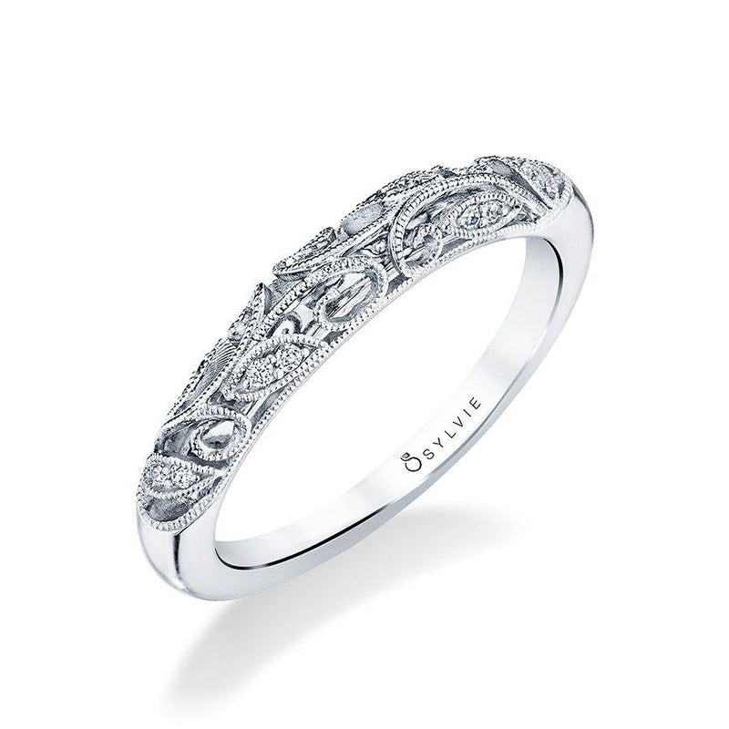 Sylvie 14k White Gold Vintage Inspired Wedding Band