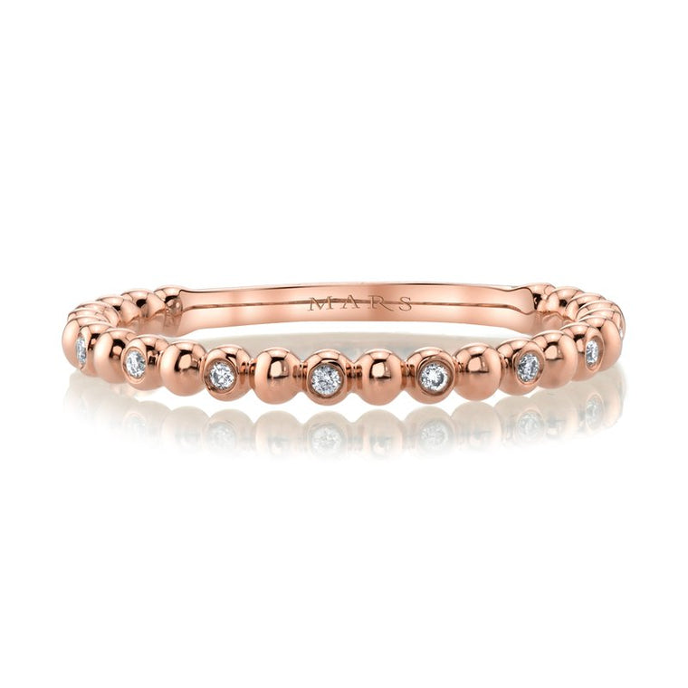 MARS Diamond Beaded Stackable 14k Rose Gold Wedding Band