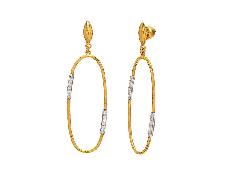 Gurhan Yellow Gold Geo Pave Drop Earrings
